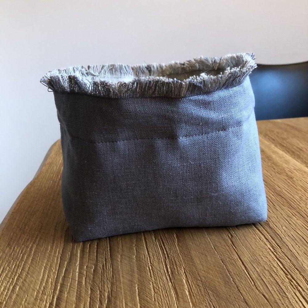 cestino porta pane lino grigio 2 aperto