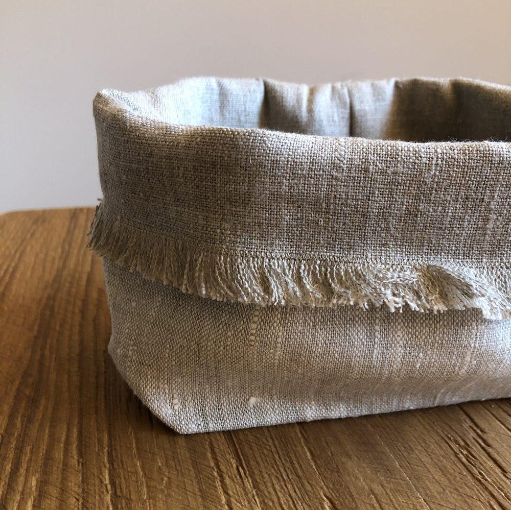 cestino porta pane lino sabbia
