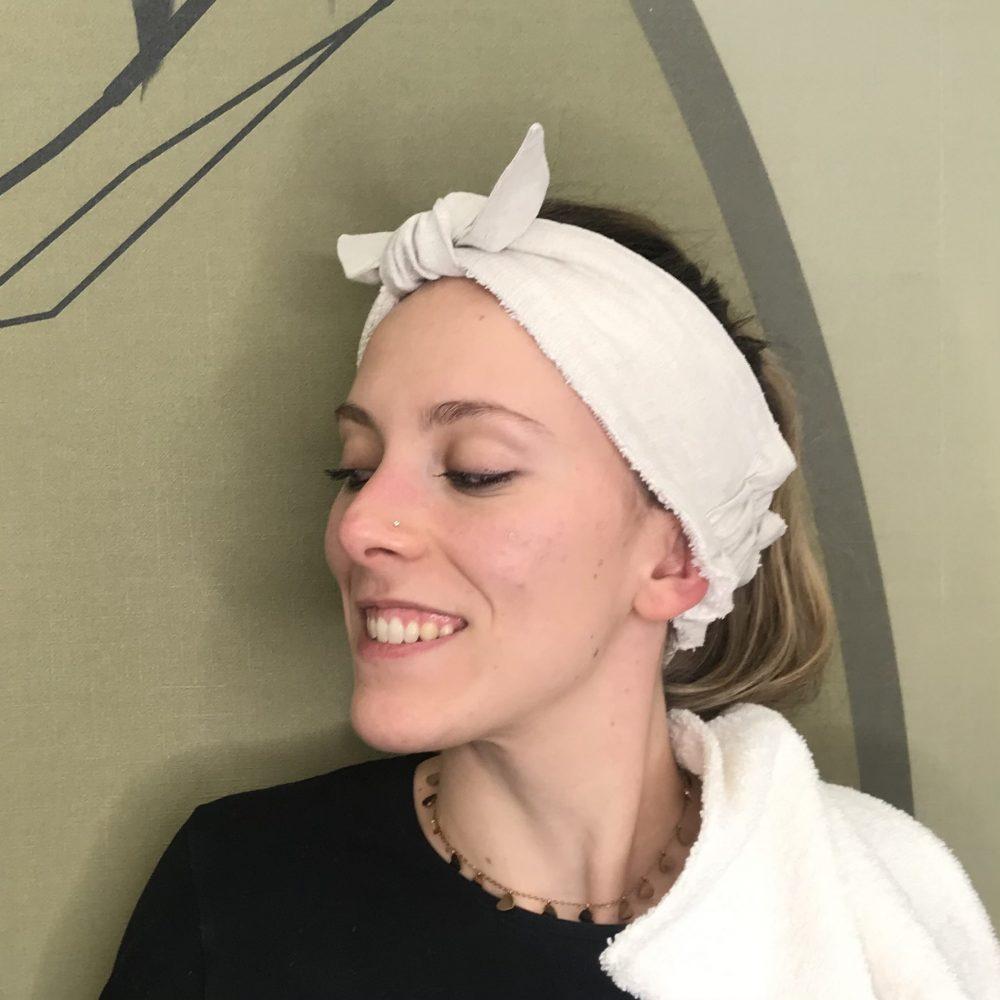 fascia per capelli in spugna e lino con fiocco