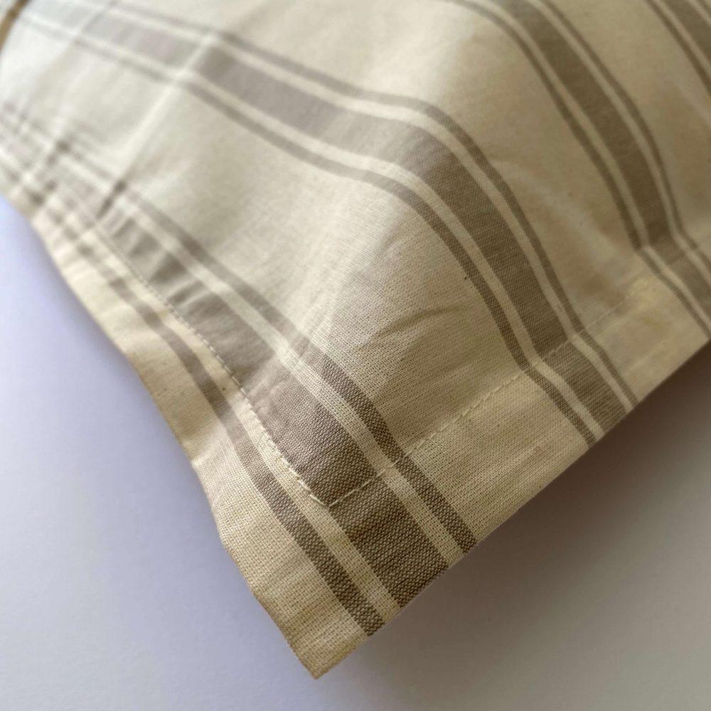 federe cotone tinto filo righe beige
