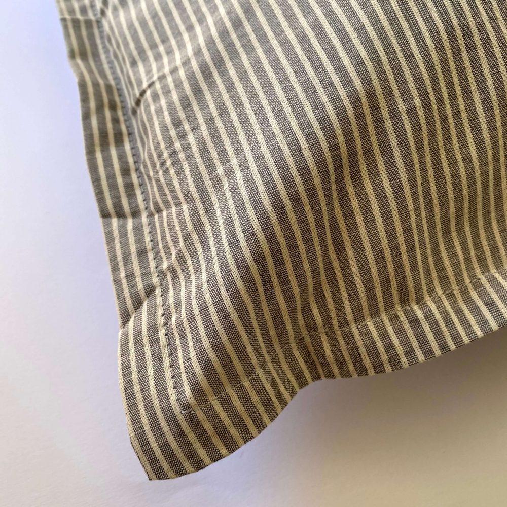 federe in cotone tinto filo righe ares grigio